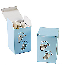 2 Dozen Baby Boy Footprint Treat Boxes #70/8982