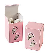 2 Dozen Baby Girl Footprint Treat Boxes #70/8983