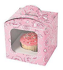 12 Pink Bandana Cupcake Boxes #70/9138