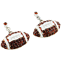 Brown and White Crystal Football Earrings #QE1319-BRN/WHT