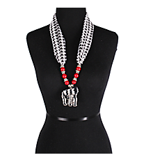 "27"" Red Beaded Houndstooth Scarf Necklace with Elephant Pendant #UN8204-RED"