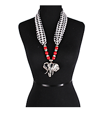 "27"" Red Beaded Houndstooth Scarf Necklace with Elephant Head Pendant #UN8205-RED"