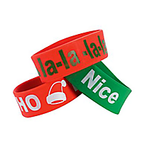 Pack of 6 Holiday Sayings Big Band Bracelets #4/5264