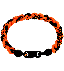 Braided Titanium Ionic Orange and Black Bracelet #IONIC-WB-ORBLK