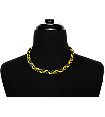 Braided Titanium Ionic Green and Gold Necklace #IONIC-NK-GRGO