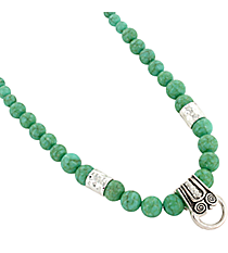 "18"" Crackled Turquoise and Silvertone Beaded Center Loop Necklace #AN0443-ASTQ"