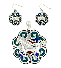 Western Multi-Colored Enamel and Crystal Accented Horse Pendant and Earring Set #AC1020-ASMX