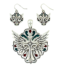 Western Multi-Colored Enamel and Crystal Accented Winged Cross Pendant and Earring Set #AC1019-ASMX