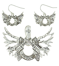Etched Silvertone Guns and Winged Horseshoe Pendant and Earring Set #AC1036-AS