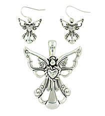 Etched Silvertone Angel Pendant and Earring Set #AC1035-AS