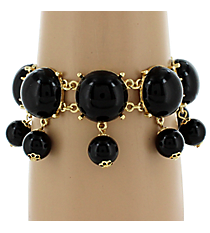 Goldtone and Black Dangling Beaded Toggle Bracelet #AB6536-GJ