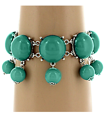 Silvertone and Turquoise Dangling Beaded Toggle Bracelet #AB6536-RHTQ