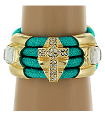 Wide Turquoise and Goldtone Cross Toggle Bracelet #AB6468-GTQ