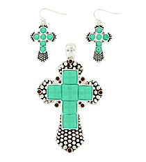 Turquoise Gem and Silvertone Dot Textured Cross Pendant and Earring Set #AC1017-ASTQ
