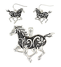 Silvertone Ivy & Dot Textured Horse Pendant and Earrings Set #AC1048-AS