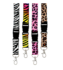 One Animal Print Lanyard Keychain #ANP-L-SHIPS ASSORTED
