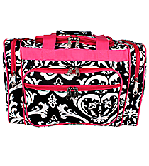 """17"""" Black and White Damask Duffle with Hot Pink Trim #DMSK417-H/PINK"""