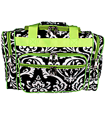 """17"""" Black and White Damask Duffle with Lime Trim #DMSK417-LIME"""