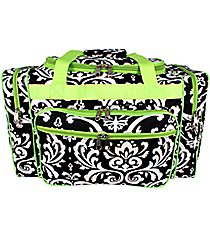 """20"""" Black and White Damask Duffle with Lime Trim #DMSK420-LIME"""