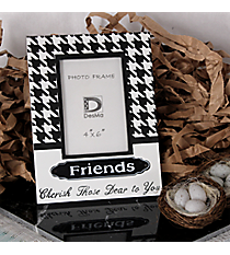 "9.75"" x 7.25"" Black and White Houndstooth ""Friends"" 4"" x 6"" Photo Frame #71524"