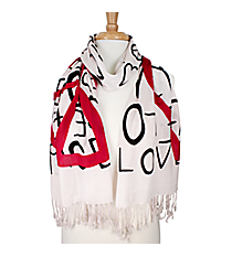 White Peace and Love Lightweight Fashion Scarf #73238