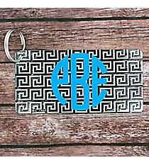 Brushed Black and White Greek Key Metal Keychain #KC-7467