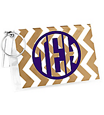 Gold Chevron Vinyl ID/Credit Card Holder with Keyring #7470