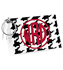 Houndstooth Vinyl ID/Credit Card Holder with Keyring #7470