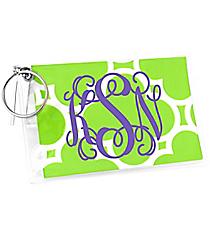 Lime Green Quatrefoil Vinyl ID/Credit Card Holder with Keyring #7470