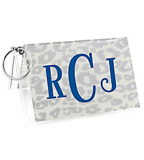 Metallic Silver Leopard Vinyl ID/Credit Card Holder with Keyring #7470