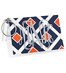 Navy and Orange Diamond Vinyl ID/Credit Card Holder with Keyring #7470