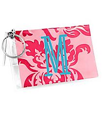 Pink Vintage Floral Vinyl ID/Credit Card Holder with Keyring #7470