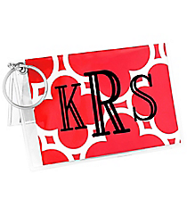 Red Quatrefoil Vinyl ID/Credit Card Holder with Keyring #7470