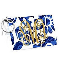 Royal Blue Floral Paisley Vinyl ID/Credit Card Holder with Keyring #7470