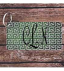 Brushed Green and White Greek Key Metal Keychain #KC-7478