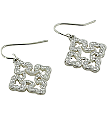 Silvertone Curvy Cross Earrings #7572E-SL