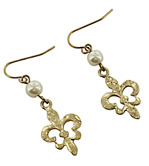 Hammered Goldtone and Pearl Fleur de Lis Earrings #7618E-GDIV