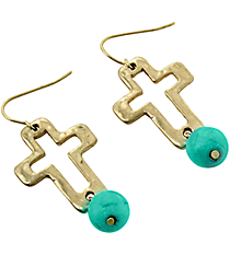 Turquoise Accented Hammered Goldtone Cut-Out Cross Earrings #7623E-GDTQ