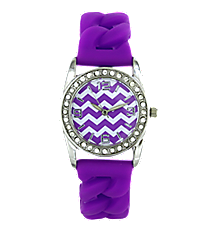 Purple and White Chevron Woven Jelly Watch with Crystal Surround #7825-BRIGHTPURPLE