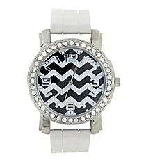 Black Chevron Clear Jelly Watch with Crystal Surround #7851-CLEAR