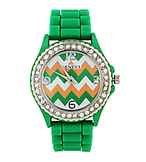 Lime and Orange Chevron Jelly Watch with Crystal Surround #7861C-LIME