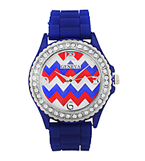 Royal Blue and Red Chevron Jelly Watch with Crystal Surround #7861C-ROYBLUE