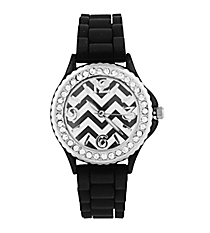 Black Chevron Jelly Watch with Crystal Surround #7871-BK