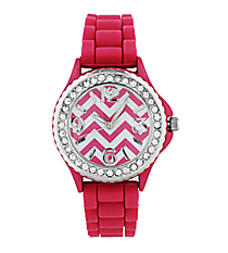 Hot Pink Chevron Jelly Watch with Crystal Surround #7871-HPINK
