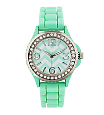 Mint Chevron Jelly Watch with Crystal Surround #7871-MINT