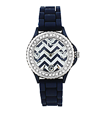 Navy Chevron Jelly Watch with Crystal Surround #7871-NAVY