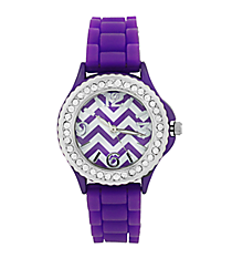 Purple Chevron Jelly Watch with Crystal Surround #7871-PU