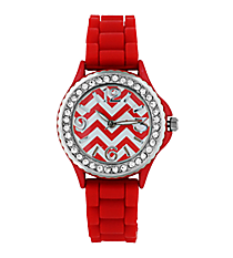 Red Chevron Jelly Watch with Crystal Surround #7871-RD