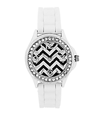 White Chevron Jelly Watch with Crystal Surround #7871-WH