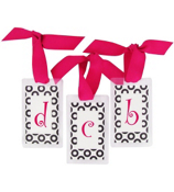 Black Retro Dots with Hot Pink Initial Personalization Tag #801 Choose Your Initial